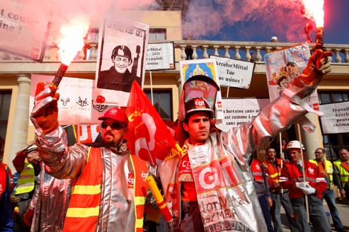 Arcelor Mittal workers from France, Belgium and Luxembourg demonstrate in Florange